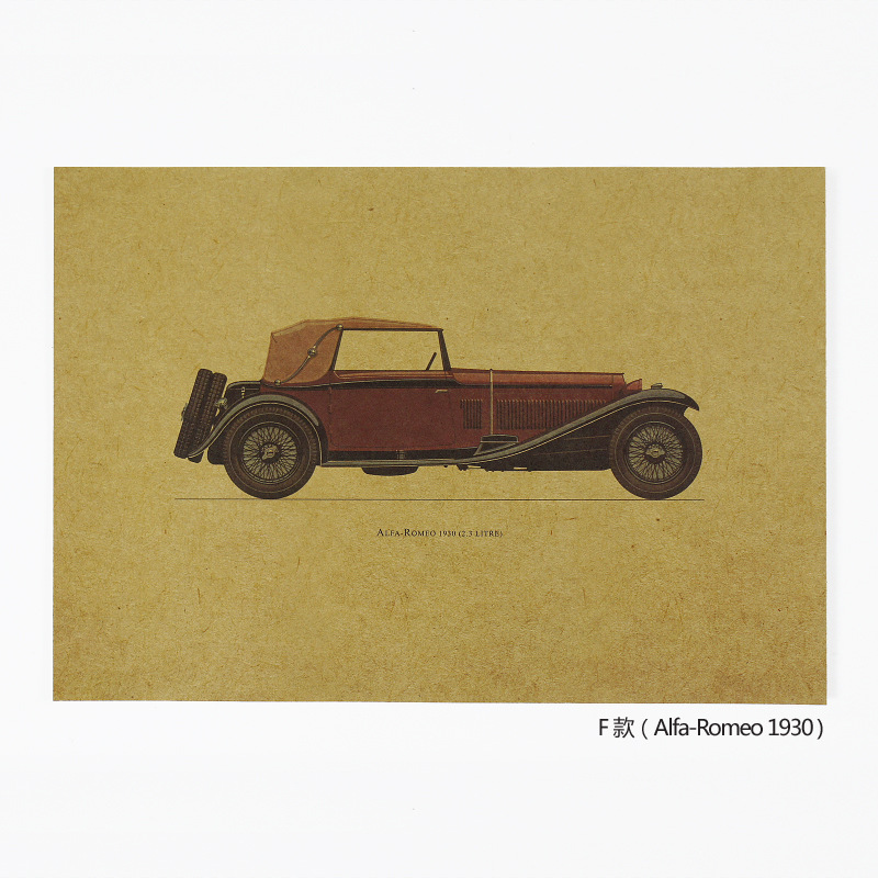 Hand-Painted Classic Car F-/Nostalgia/Small Size Kraftpaper Decoration Posters 25.5x35.5cm Retro Garage Decor  Retro
