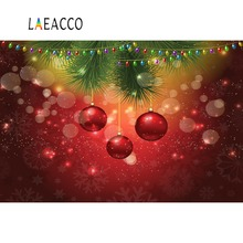 Laeacco Photo Backdrops Christmas Bauble Polka Dots Pine Party Poster Photographic Backgrounds Photocall For Studio
