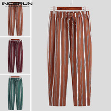 2020 Fashion Men Chic Stripes Lacing Pants Business Style Slim Pockets Trousers Men's Streetwear Brand Pants INCERUN Size S-5XL