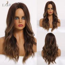EASIHAIR-Peluca de cabello largo degradado para mujer, cabellera artificial ondulado de color marrón a rubio, resistente al calor