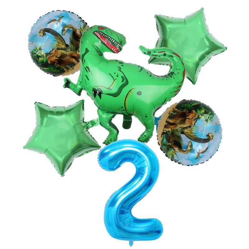 Pcs/set Dinossauro 40 polegada número azul Balão Da Folha balão da Festa de Aniversário do tema da selva Decoração animal do balão Crianças brinquedos