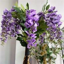 Nouvelle branche de vigne de glycine, fleurs artificielles en soie avec feuilles violettes suspendues au mur pour décor de fête de mariage, nouvelle collection