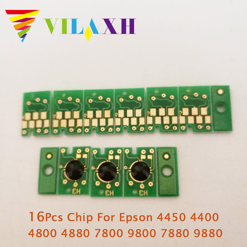 Vilaxh 16Pcs <font><b>Cartridge</b></font> Chip For <font><b>Epson</b></font> 4450 4400 4800 4880 <font><b>7800</b></font> 9800 7880 9880 Printer <font><b>Cartridge</b></font> Chip image