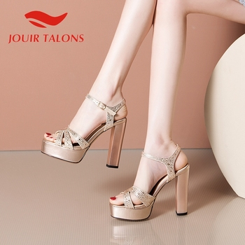 JOUIR TALONS 2020 Brand Design Genuine Leather Women Sandals Square Heel Peep Toe Platform Crystal Pump Summer Party Woman Shoes