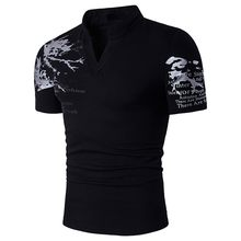 Men Print large size men's T-shirt short-sleeved polo shirt T Shirt Slim Fit V-Neck Short Sleeve Muscle Casual T Shirts#LR1(China)