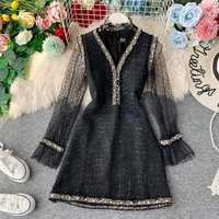 Women's Dress Suit Lace Bottoming Shirt and Ladies Tweed Beaded V-neck Vest Dress Above Knee A-line Dress Two-piece Set ML407