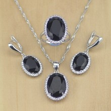 Women 925 Sterling Silver Jewelry Black CZ White Crystal Jewelry Set Earrings/Pendant/Necklace/Ring Size 6 7 8 9 10 T231(China)