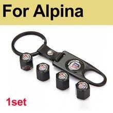 1 conjunto para alpina emblema de couro preto metal tampa da válvula pneu carro haste ar tampas cobertura automóvel para bmw e60 e90 f10 f30 f15 x3 x4