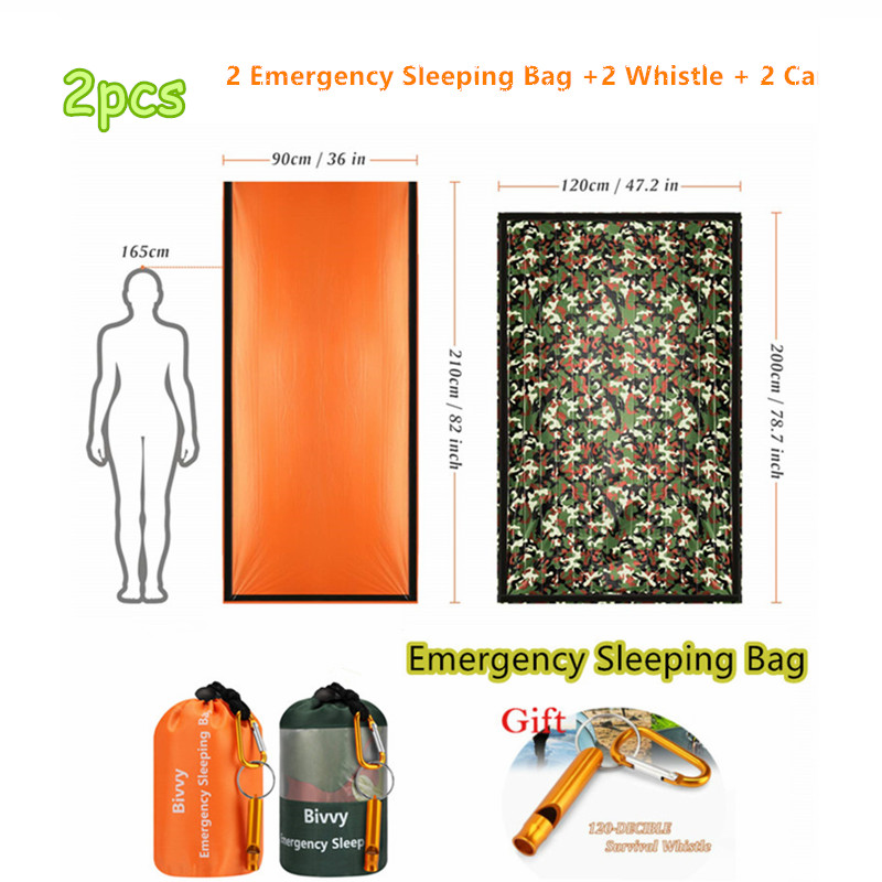 2PC Emergency Bivy Sack, Survival Sleeping Bag Emergency Blanket Lightweight and Compact Survival Gear with Whistle + Carabiner