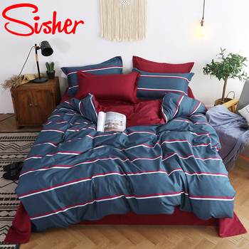 Nordic Duvet Cover 220x240 King Size Cute Cat Bedding Set Bed Sheet Stripe Plaid Single Double Queen Quilt nordic bed cover 150