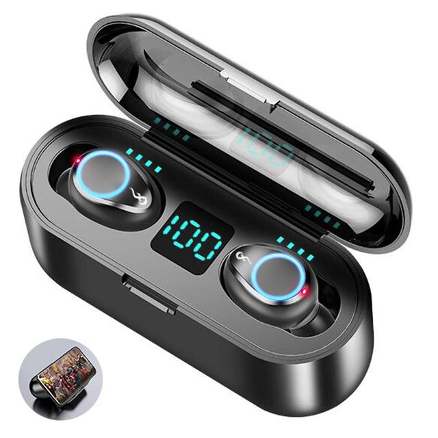 Wireless Bluetooth 5.0 Earphones Double Mini Earbuds In-Ear Headset with Microphone as Smart Phone Power BanK for Music Calling 1