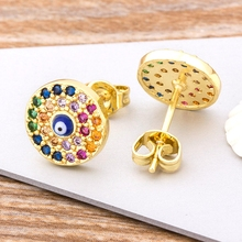 Nidin New Arrival Classic Evil Eye Round Shape Stud Earrings Gold Color CZ Rainbow Jewelry Gift For Women Girls new fashion delicate cute gold cz zircon crystal round stud earrings rainbow color romantic love earrings for women girls gift
