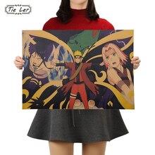 TIE LER винтажный мультяшный аниме постер Naruto бар Детская комната Декор комиксы ретро крафт-бумага живопись наклейки на стену 51x35,5 см