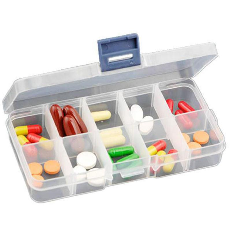 New 10 Grids Compartments Plastic Transparent Organizer Jewel Bead Case Cover Container Storage Box For Jewelry Pill TSLM1