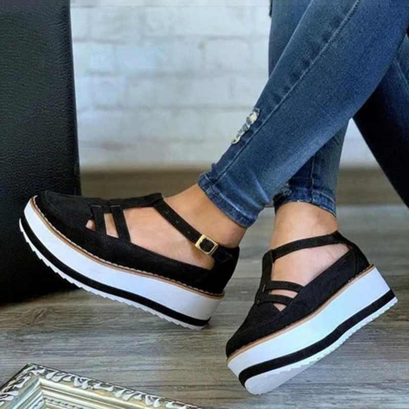 2020 kadın Flats ayakkabı platformu ayakkabı toka bayanlar rahat rahat loafer'lar yaz kalın alt kadın ayakkabısı Zapatillas Mujer