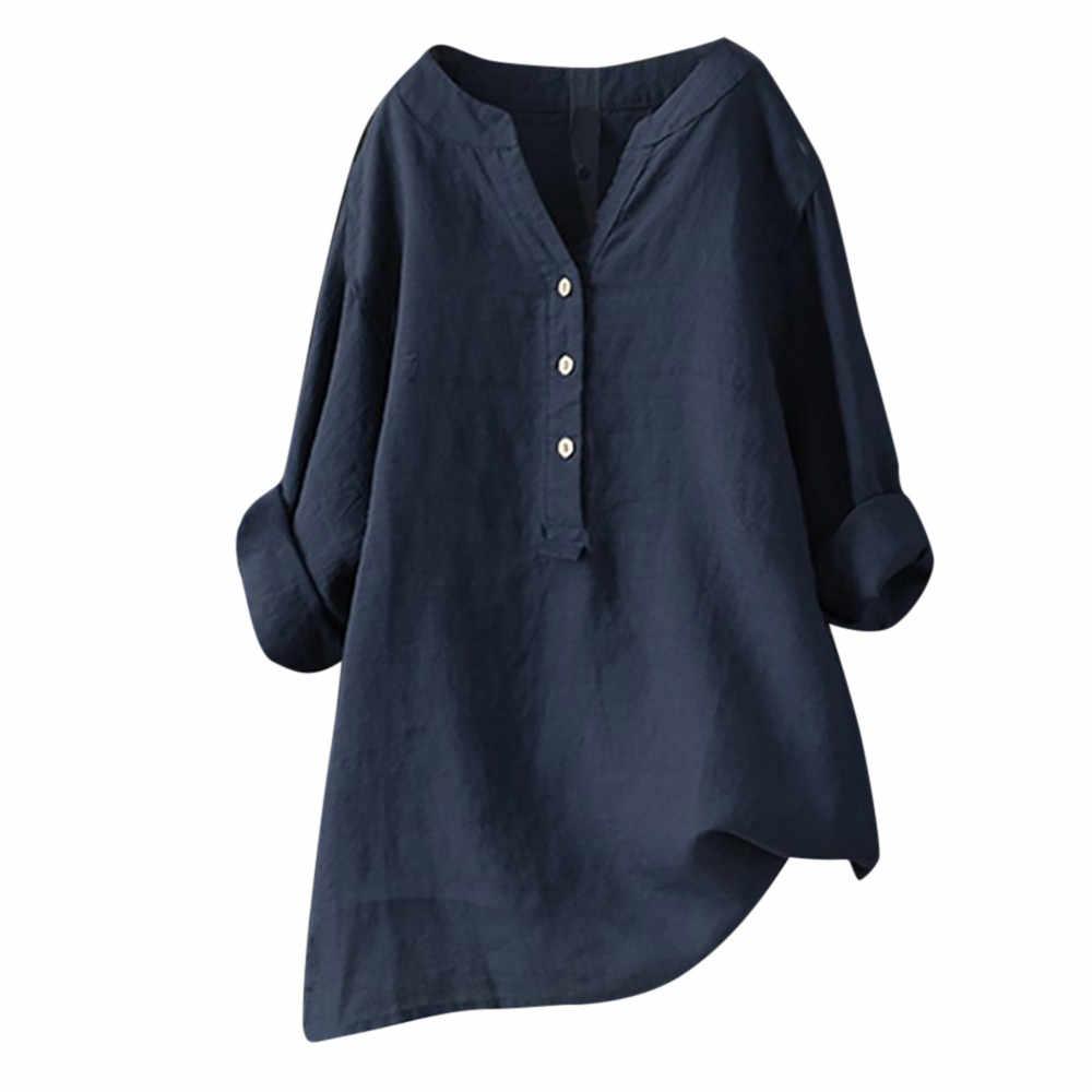 Ample grande taille coton et lin chemises femmes solide col montant à manches longues chemise bouton confortable hauts femme Blouse # LR3