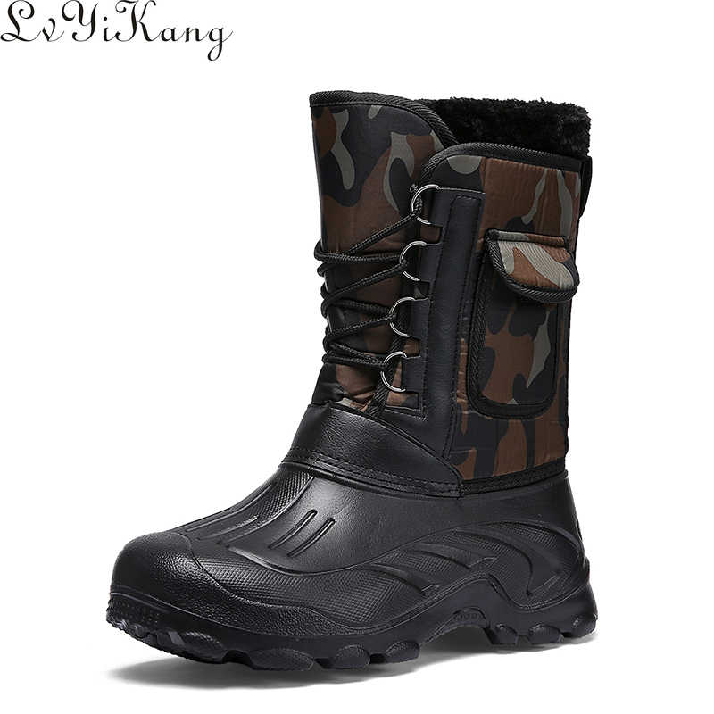 LVYIKANG 2019 Winter Camouflage Snow Men Boots Rain Shoes Waterproof With Fur Plush Warm Male Casual Mid-Calf Work Fishing Boot