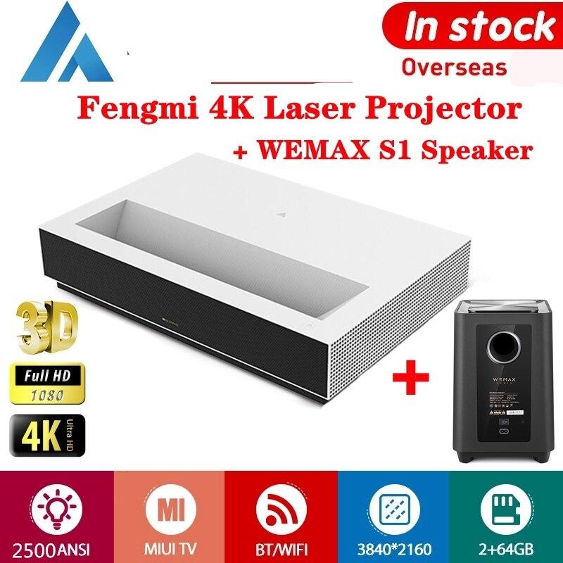 Fengmi Proyector láser completa 4K HD 3D Android TV de cine S1 altavoz Subwoofer 2500ANSI 150 pulgadas ALPD BT MIUI TV proyector