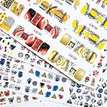 12 Type Nail Water Sticker Black Coloful Abstract Image Water Tranfer Nail Sticker Decoration Manicure Style Tool A1513 1524