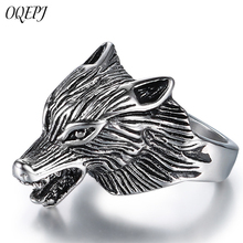 OQEPJ Vintage Tribal Wolf Rings 316L Stainless Steel  Cool Fashion Men Animal Ring High Quality Never Fade Jewelry Gift