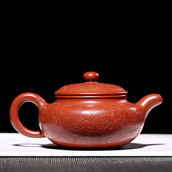 Yixing teapot handpainted dragon pattern antique purple clay teapot with gift box