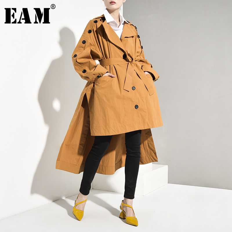 [EAM] Women Asymmetrical Oversize   Trench   New Lapel Long Sleeve Loose Fit Windbreaker Fashion Tide Autumn Winter 2019 YA0520