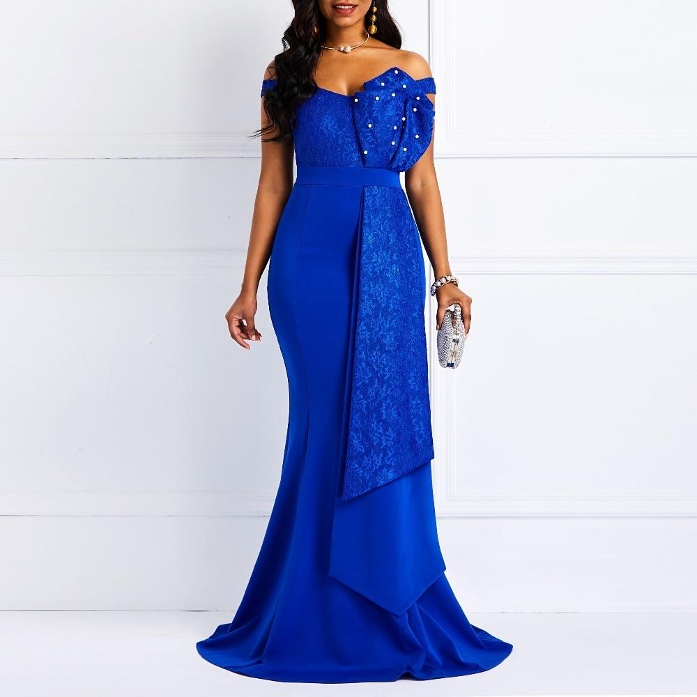 Femmes épaule dénudée longue robe Sexy sirène Slash cou perles Skinny bal soirée mode grande taille dentelle élégante fête Maxi robe