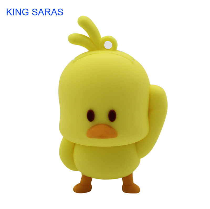 KING SARAS Cartoon Cute Yellow Chicken Style Usb Flash Drive Usb 2.0 4GB 8GB 16GB 32GB 64GB Pendrive Cute Gift
