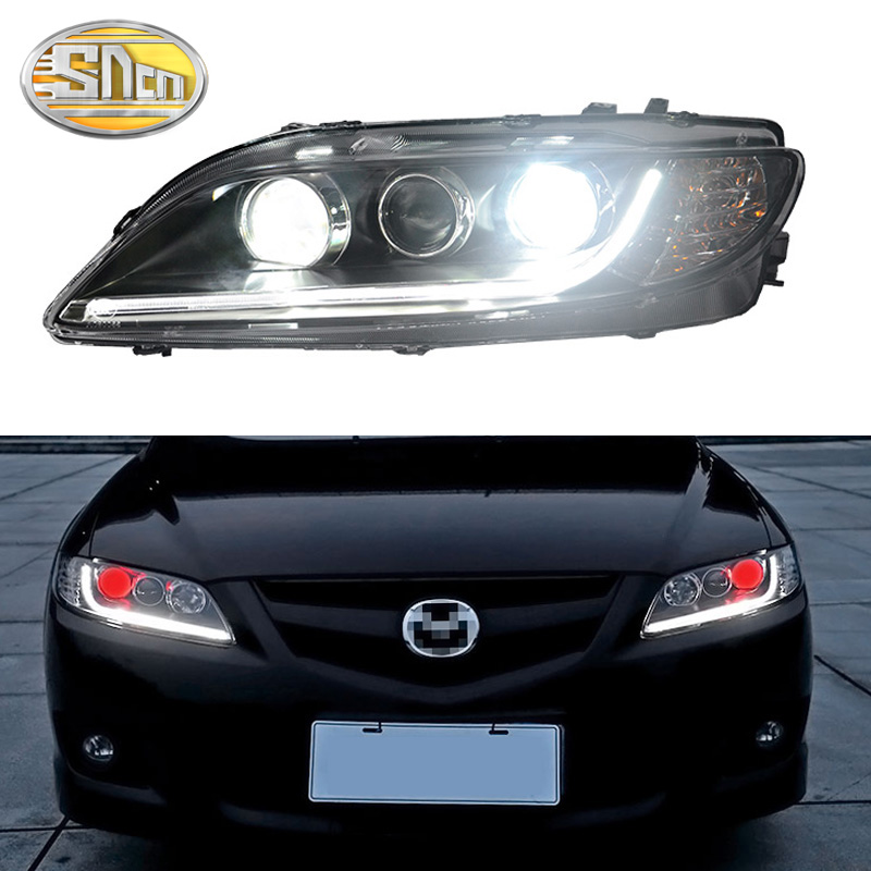 SNCN Car Styling LED Headlight For Mazda 6 2003 - 2012 LED DRL Halogen Turn Signal Light LED Red Devil Eyes Head Lamp Assembly