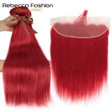 Rebecca – lot de 3 mèches brésiliennes Remy avec Frontal, cheveux naturels lisses, avec Closure, rouge