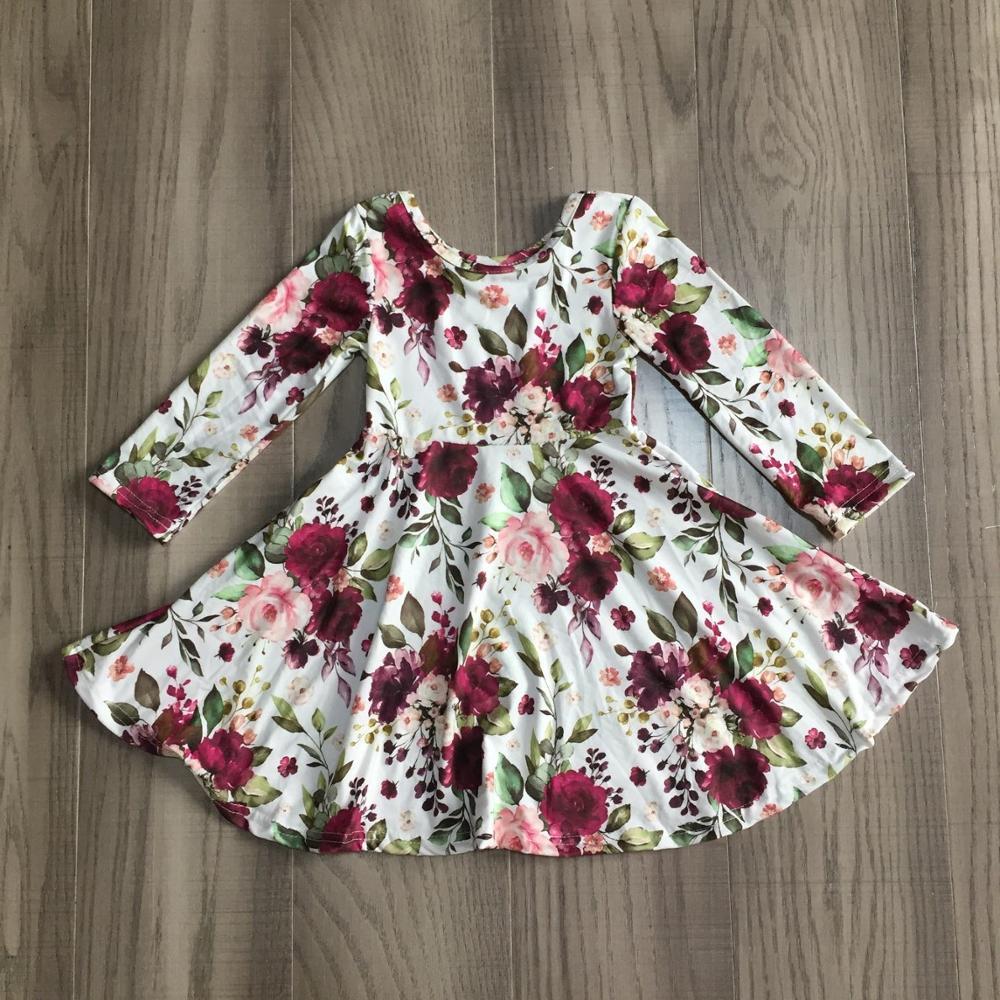 special offer Girlymax fall/winter baby girls cotton chlidren clothes milk silk twirl dress floral fox cow leopard knee length 3