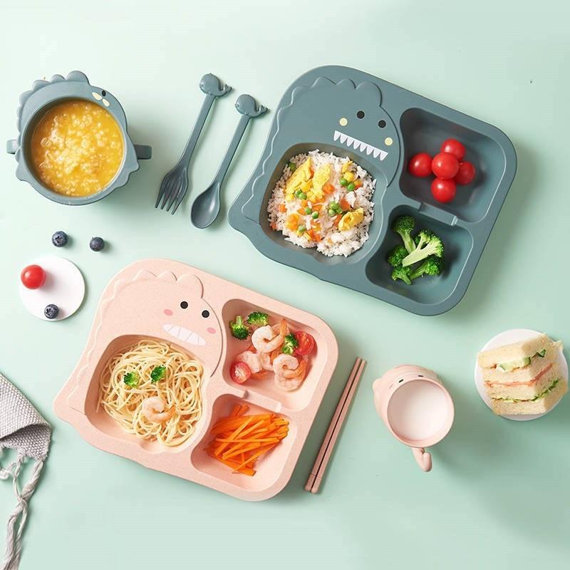 6pcs-set-baby-cartoon-dinosaur-tableware-children's-dinnerware-set-home-anti-hot-wheat-straw-training-plate-kids-feeding-dishes