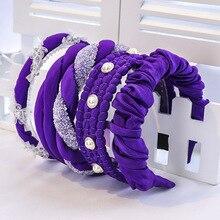 2020 Vintage Purple Pearl Rhinestone Jewel Fold Bezel Hair B