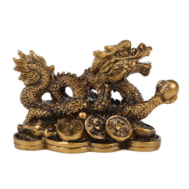 Chinese classical Feng Shui Golden Dragon statue decoration success decoration home crafts gold coins Han Long 3