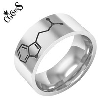 Silver Color DMT Biomolecules Symbol Ring Chemical Molecular Structure Stianless Steel Rings For Student and  Research Scholar