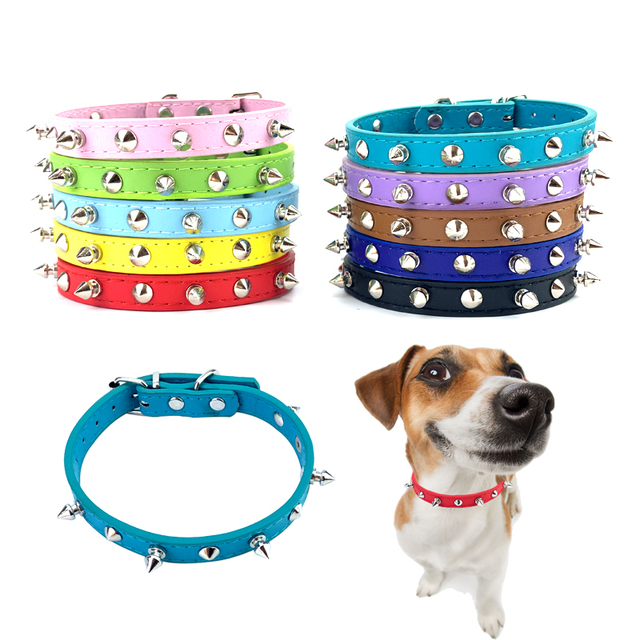 Adjustable Leather Spiked Dog Collar 1