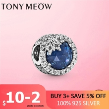 2020 New 925 Sterling Silver Dazzling Blue Snowflake Charm Beads fit Pan Bracelet DIY Cubic Zircon Silver 925 Jewelry Gift