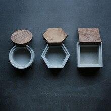 Moules à béton en silicone avec couvercle, boîte de rangement pour ciment, carrés et ronds, boîte hexagonale