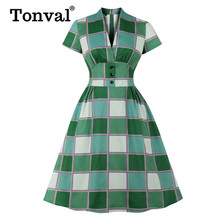 Tonval Button Front High Waist Plaid Vintage Robe Ruched Green Dress Elegant Par