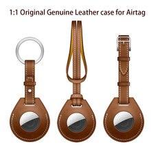 1:1 caso de couro original para airtags capa protetora para apple localizador rastreador dispositivo anti-perdido manga chave charme bagagem tag