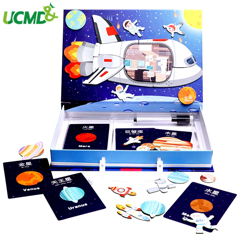 Kids Baby Montessori Early Learning Puzzle Game Exploring Space Magnet Puzzle Science Coginition Toys School Home Teaching Tools image