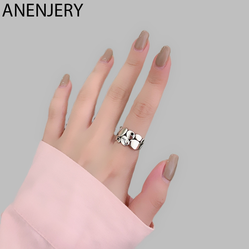ANENJERY Temperament Oval-shaped Open Size Ring 925 Sterling Silver Geometric Black Stone Ring With Letter Love Jewelry S-R594