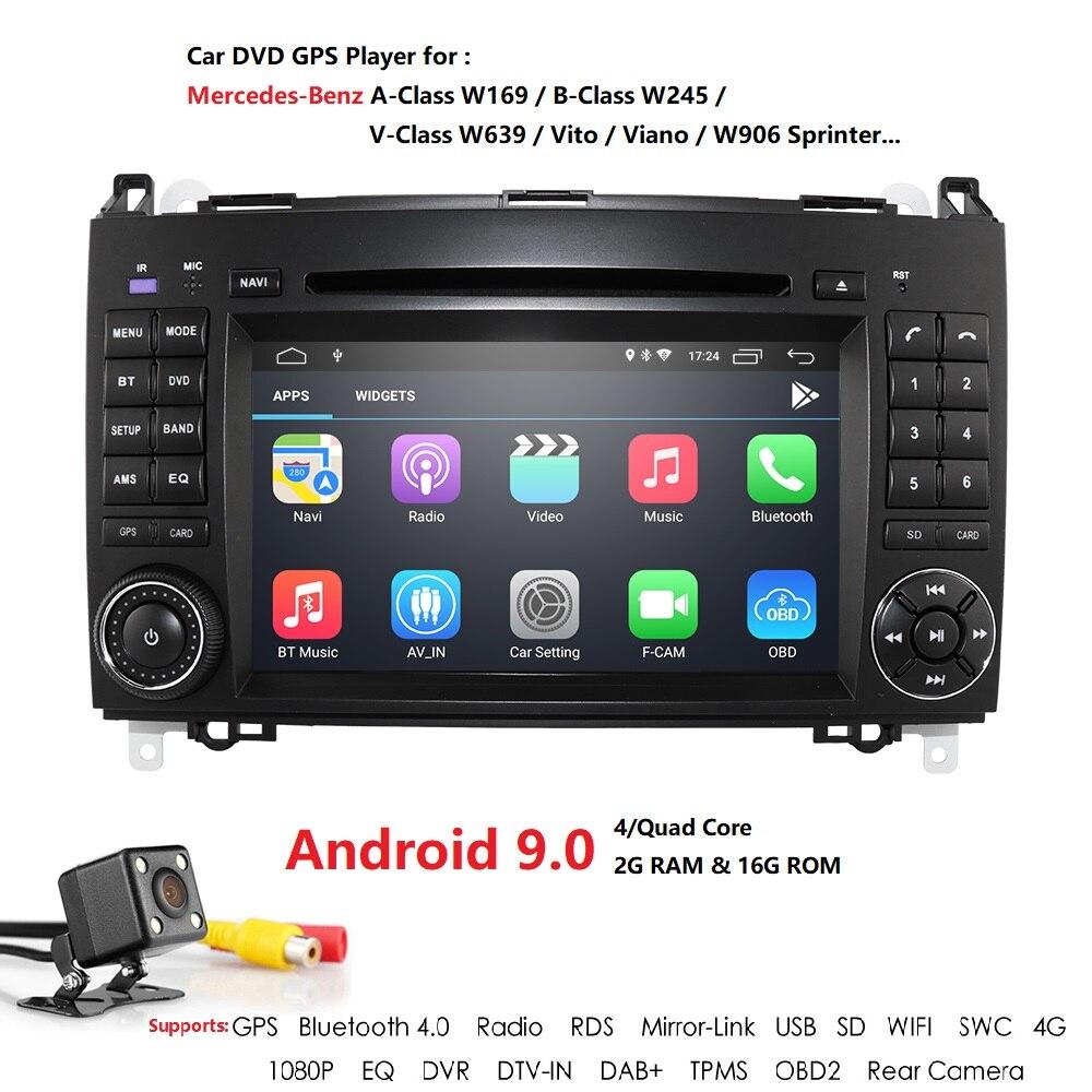 Android 9 2Din Auto Radio voiture DVD GPS unité de tête pour Mercedes Benz B200 B classe W169 W245 Viano Vito W639 Sprinter W906 Bluetooth