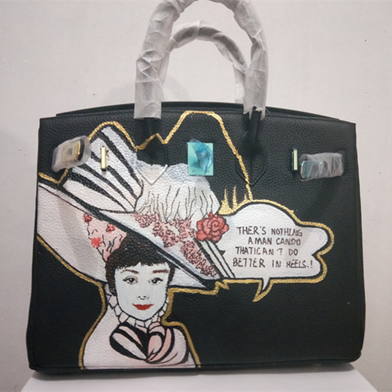 Graffiti Handbags Genuine Leather Womens Handbag Famous 35CM Black Travel Bags Totally Made By Hand Custom Lady Art Design Gifts