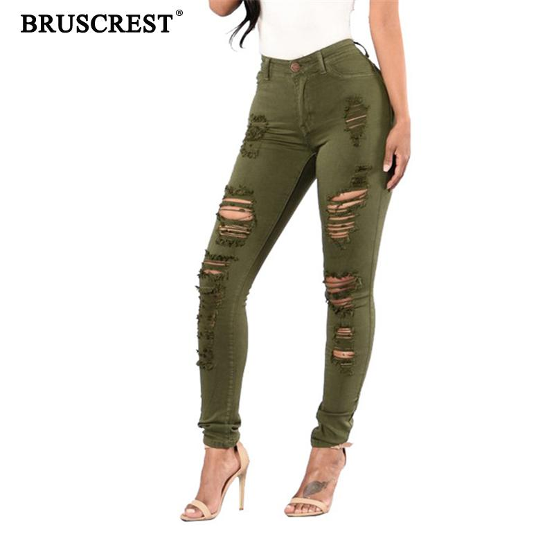 2019 Distressed Jeans Women Long Stretch Ripped High Waisted Comfy Jeans Skinny Pencil Colored Soft Damage Jeans Denim Pants