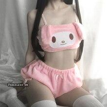 Disfraces de Cosplay de Anime de M atemporal, Top y bragas de tubo de melodía rosa y blanca, conjunto de Kwaii DDLG de oreja larga, sujetador y bombachos