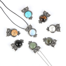 Women Men Owl Natural Gem Stone Pendant Necklace Tiger Eye Turquoises Onyx Alloy Clavicle Sweater Chain Jewelry 45/65cm Length natural gem stone pendant necklace for men women oval onyx lapis lazuli pink crystal pendants 18 neck chain fashion jewelry