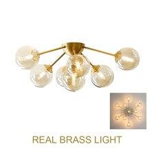Lámpara de techo de cobre con forma de globo de cristal, luz LED para comedor, sala de estar, vestíbulo