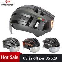 PROMEND Fahrrad Helm mit LED Schwanz Licht Abnehmbare Windglasses Wiederaufladbare Abnehmbare Rennrad Helm Sport Sicher Hut für Mann