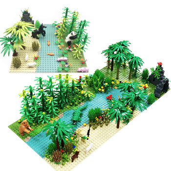 Rain Forest Plants Base Plate City Building Blocks for Children Xmas Birthday Gifts Compatible Bricks with Baseplate цена 2017